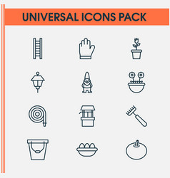 Gardening icons set collection of dwarf floret vector