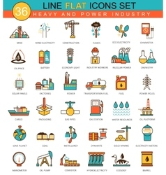 heavy and power industry flat line icon set vector image vector image
