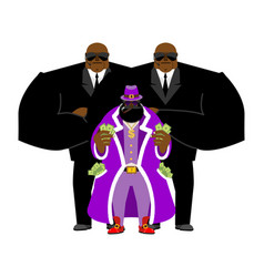 Pimp and bodyguard bright clothing and money vector