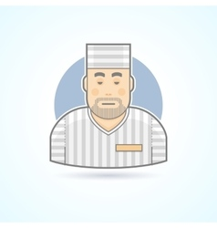 Prisoner inmate jailed man in prison robe icon vector