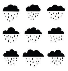rain and clouds icon set vector image