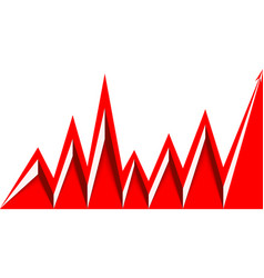 Red arrow graph goes up white background vector