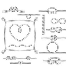 Rope frames and knots - borders and corners vector