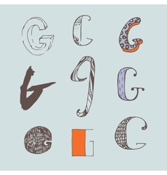 Set of colorful alphabet letters g vector