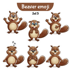 Set of cute beaver characters set 5 vector