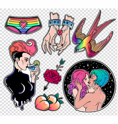 set of sexy lady homosexuality related stickers vector image