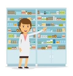 Smiling female pharmacist vector