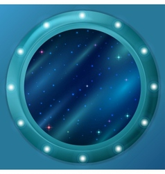 Window with stars and nebulas vector image