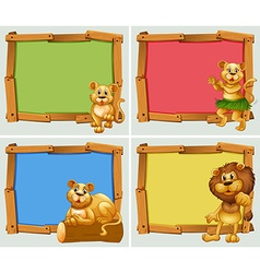 Wooden frames with wild animals vector