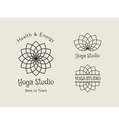 Yoga studio logo template set vector
