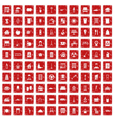 100 cleaning icons set grunge red vector image vector image