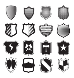 Shield icons set in simple style vector