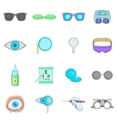 Ophthalmologist icons set cartoon style vector