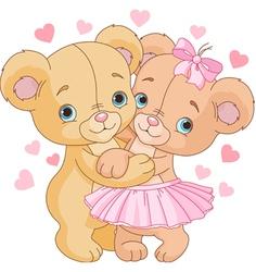 1Teddy bears in love vector image