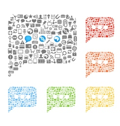 abstract talking clouds of web icons collection vector image