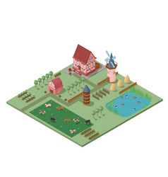 Isometric agriculture rural composition vector