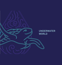 Contour of the underwater world turt vector