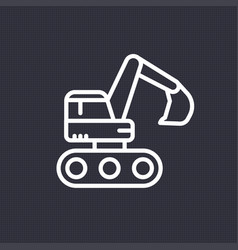 Excavator icon linear pictogram vector