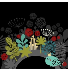 Half part round banner with fantastic flora vector image