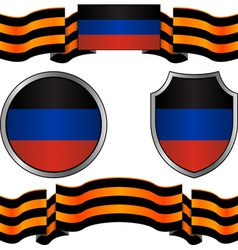 Flag of donetsk republic and georgievsky ribbon vector