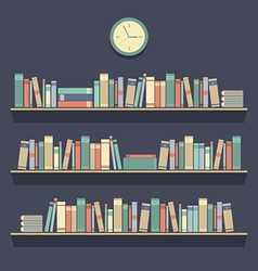Flat design bookshelves vector