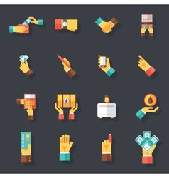 Business hands symbols finance accessories icons vector