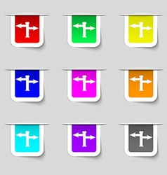 Blank road sign icon sign set of multicolored vector