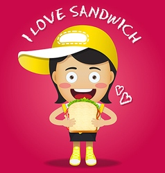 Happy woman carrying big sandwich vector