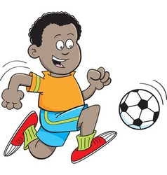 Cartoon african boy playing soccer vector