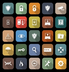Security flat icons with long shadow vector