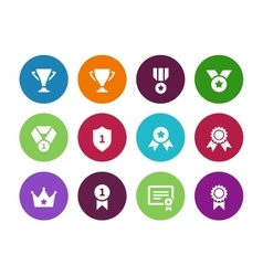 Trophy and cup circle icons on white background vector