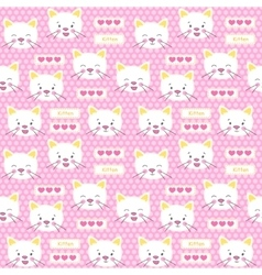 Patches kitten and hearts seamless pattern vector