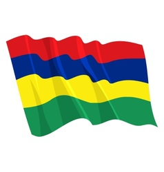 Political waving flag of mauritius vector