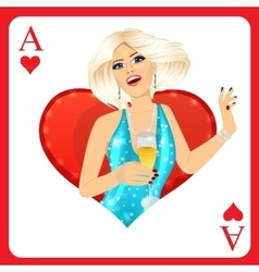 Blonde woman representing ace of hearts card vector