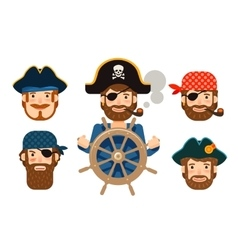 Pirate at the helm of ship corsair funny sailor vector