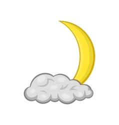 Crescent moon and cloud icon cartoon style vector