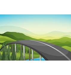 A curve road with pine trees vector