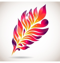 Abstract colorful isolated pink feather vector