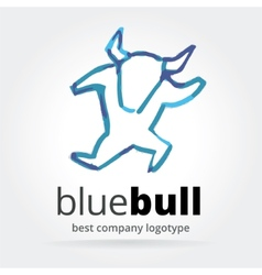 Abstract dancing bull logotype isolated on white vector image