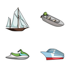 Ancient sailboat motor boat scooter marine vector