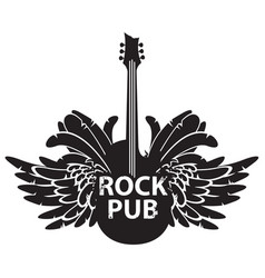 banner for rock pub with guitar and wings vector image vector image
