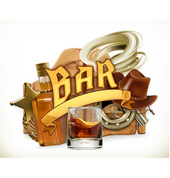 Bar logo Western retro style 3d emblem vector image vector image