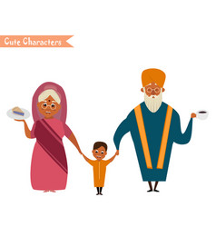 big happy indian family vector image