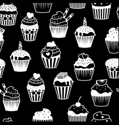 Black and white cupcakes pattern vector