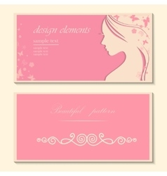 Booklet with a beautiful woman template vector