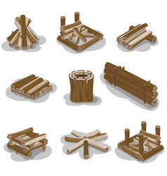 campfire stumps logs collection isolated on white vector image vector image