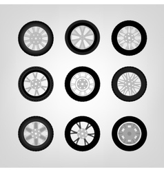 Car wheel icons vector