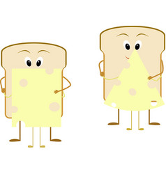 cartoon breakfast bread and cheese vector image