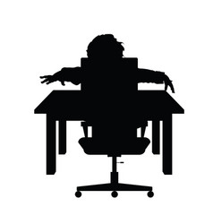 child silhouette sitting on chair with desk vector image vector image