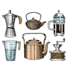 coffee maker or grinder french press measuring vector image vector image